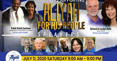 ALIYAH FOR HIS PEOPLE – event schedule, live-stream on FaceBook (Love For His People page) Saturday, July 11, 2020 9 am – 9 pm EDT Charlotte, NC USA